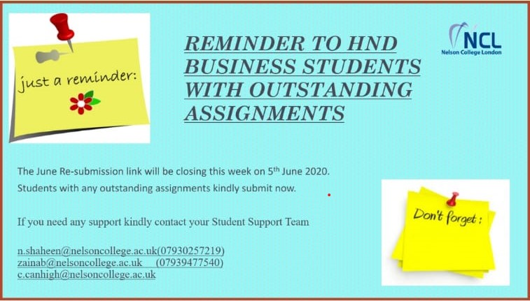 Reminder to HND Business Students with Outstanding Assignments