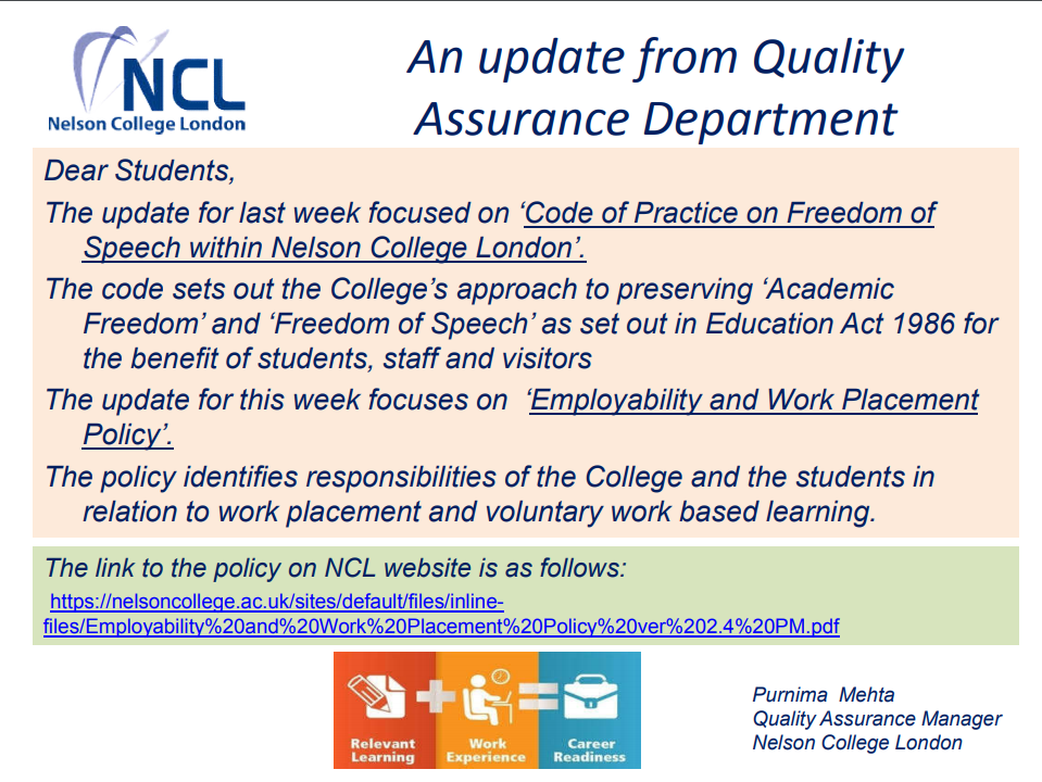 An Update from Quality Assurance Department
