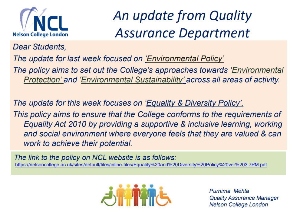 An Update from Quality Assurance Department - 'Equality & Diversity Policy'