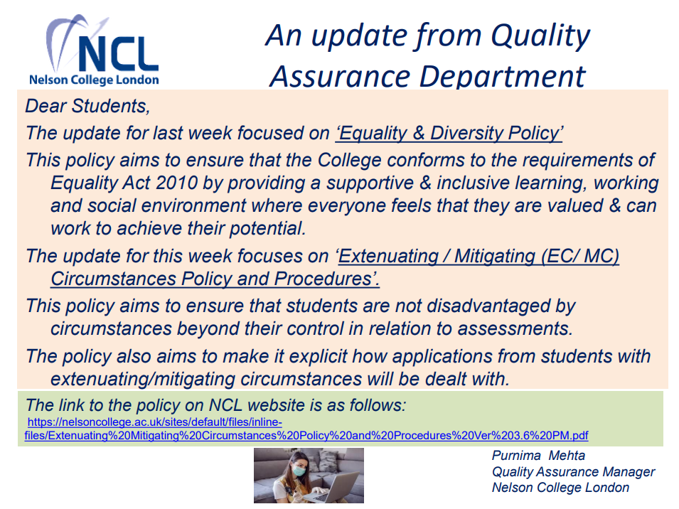 An Update from Quality Assurance Department -  'Extenuating / Mitigating (EC/ MC) Circumstances Policy and Procedures'