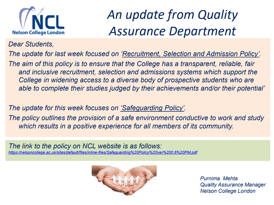 An Update from Quality Assurance Department -  'Recruitment, Selection and Admission Policy'